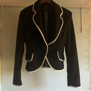 Black Blazer with White Piping